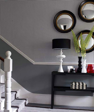 Houndstooth wallpapered entryway
