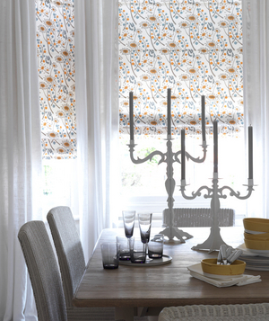 White Room With Patterned Curtains