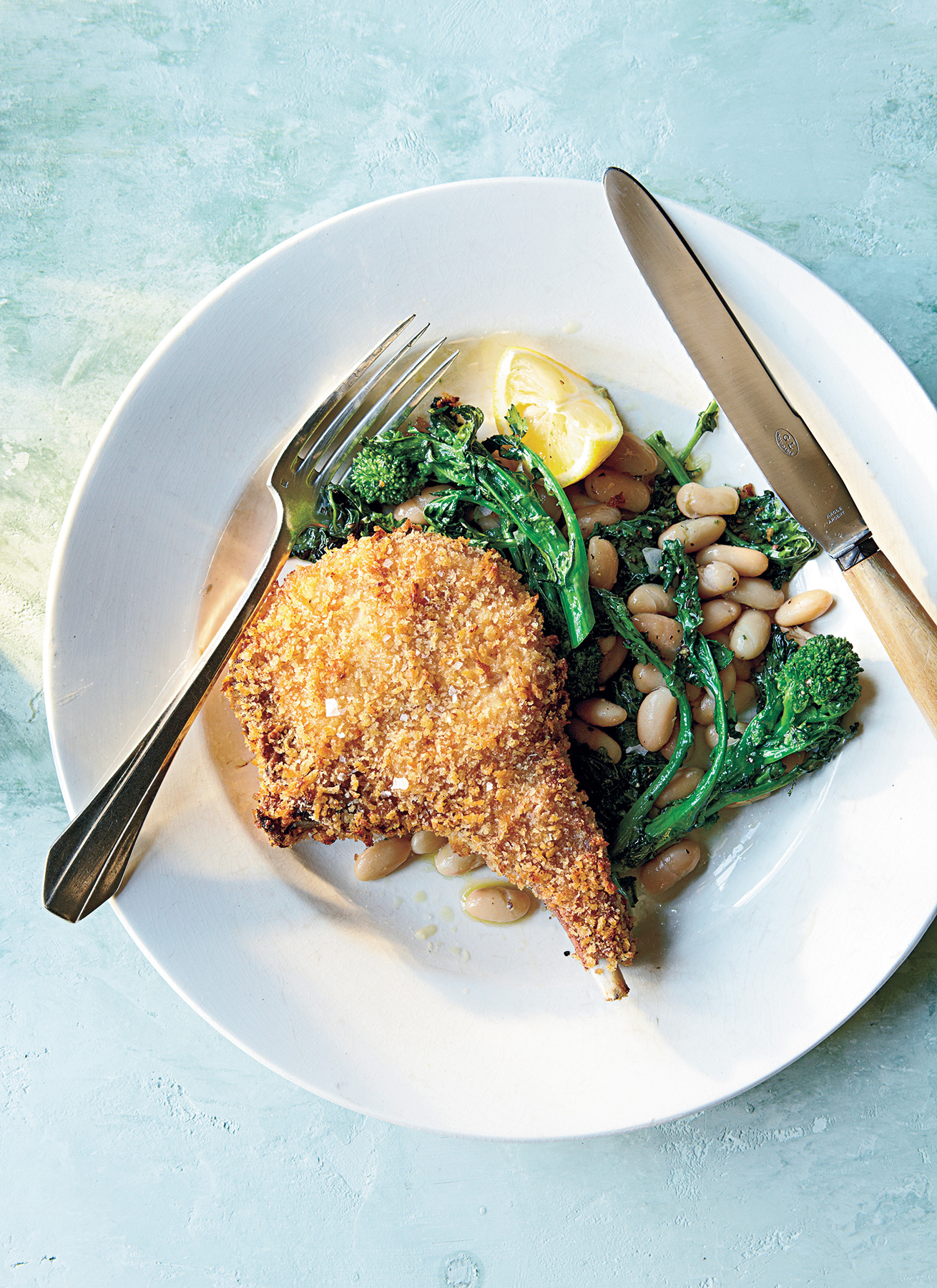 Panko-Crusted Pork Chops with Roasted Broccoli Rabe