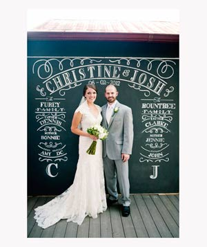 Bride and groom in chalkboard wedding photobooth