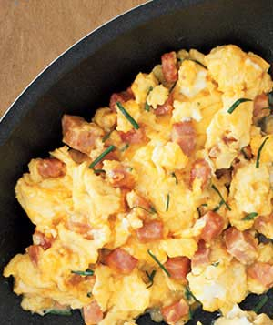 Eggs With Ham, Cheddar, and Chives