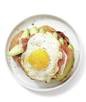 Avocado, Prosciutto, and Egg Open-Faced Sandwich