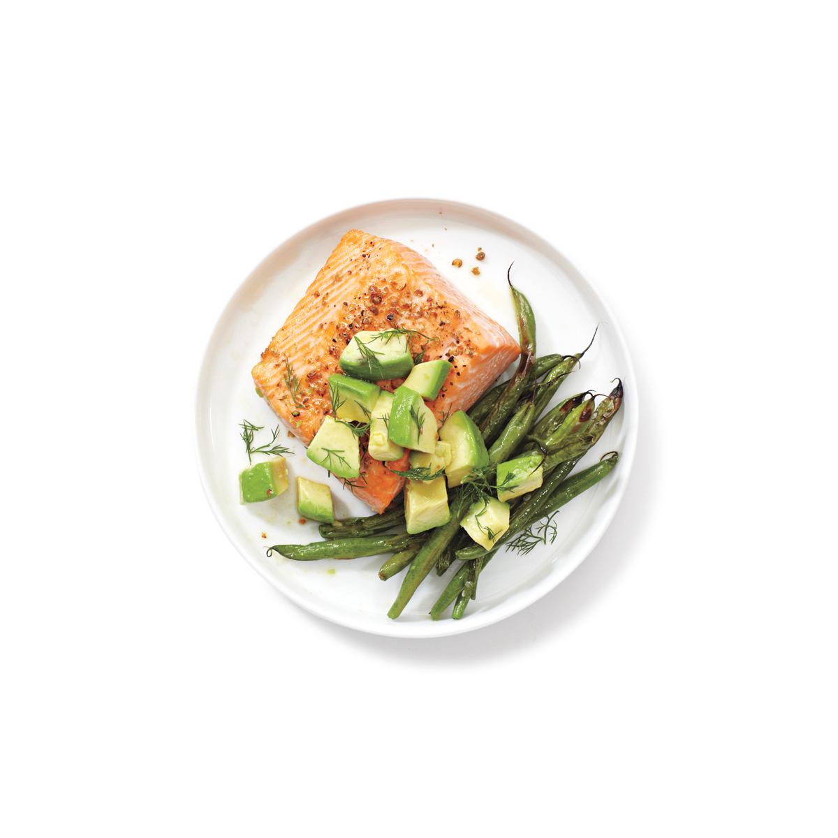Salmon, Green Beans, and Avocado