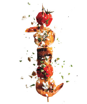 Greek Shrimp, Tomato, and Feta Kebabs