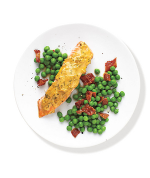 Mustard-Glazed Salmon With Peas