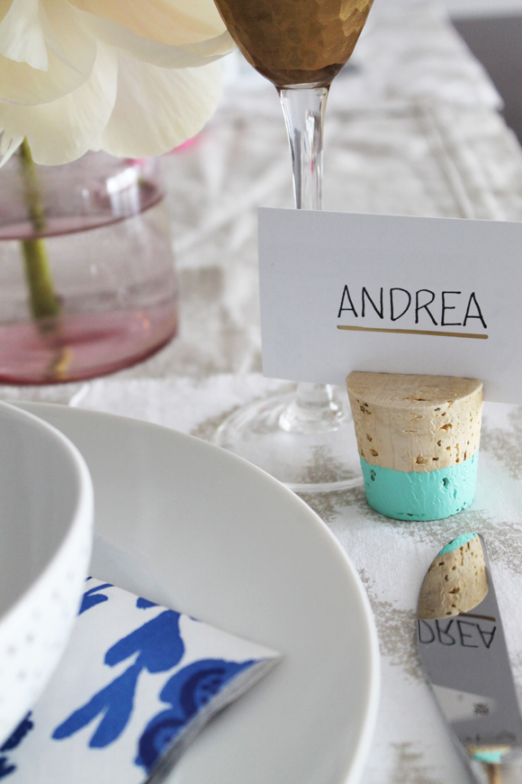 Color Dipped Cork Place Card Holders