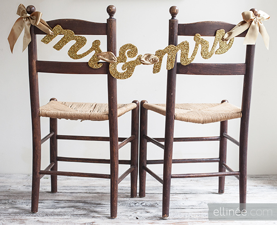 Glittery Mr. and Mrs. Chair Banner