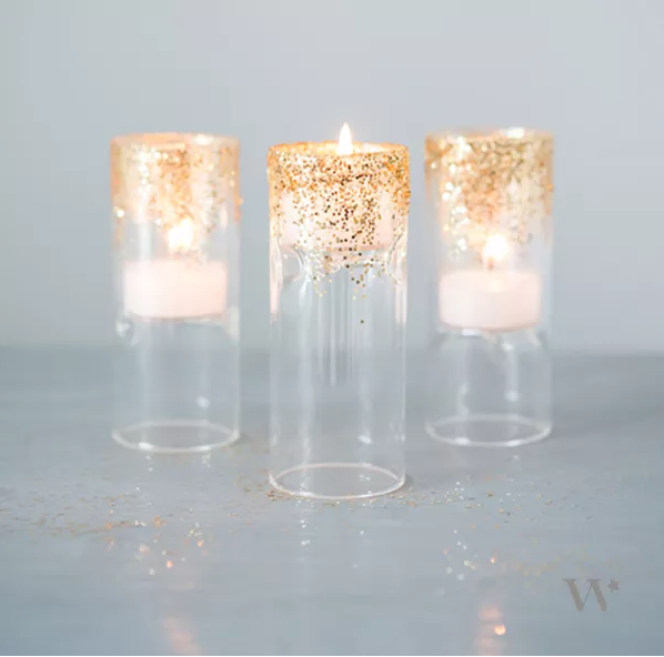 7 DIY Wedding Decorations Glittered Tea Light Holders