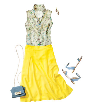 Outfit with collared sleeveless shirt and bright yellow skirt