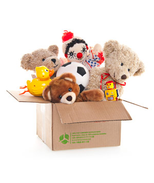 Box of stuffed animals