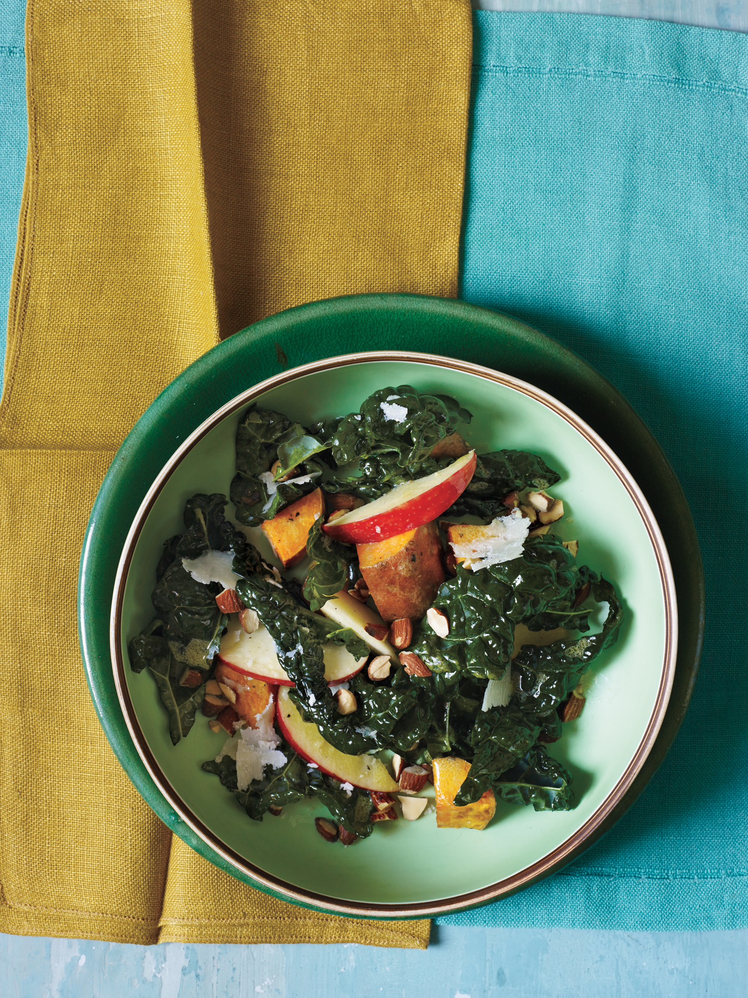 Mustardy Kale Salad with Roasted Sweet Potato and Apple