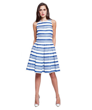 424 Fifth Striped Fit and Flare Dress
