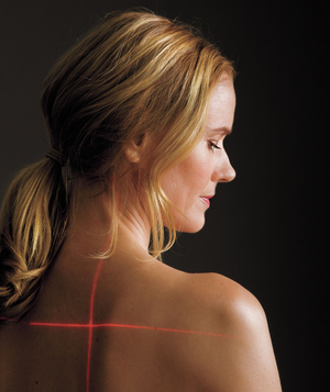 Lasers shining on model's back