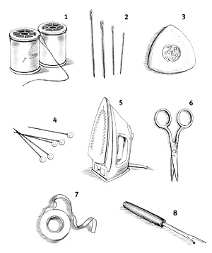 Illo: sewing supplies