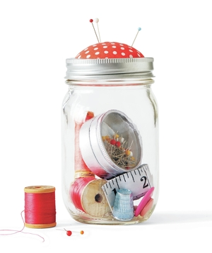 Jam Jar as Sewing Kit