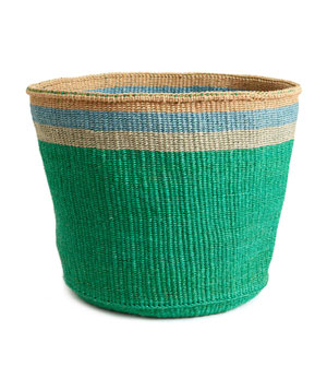 Emerald and Turquoise Striped Basket