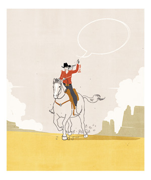 Woman on a horse with a speech bubble lasso