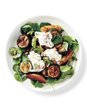 Roasted Zucchini, Potato, and Burrata Salad