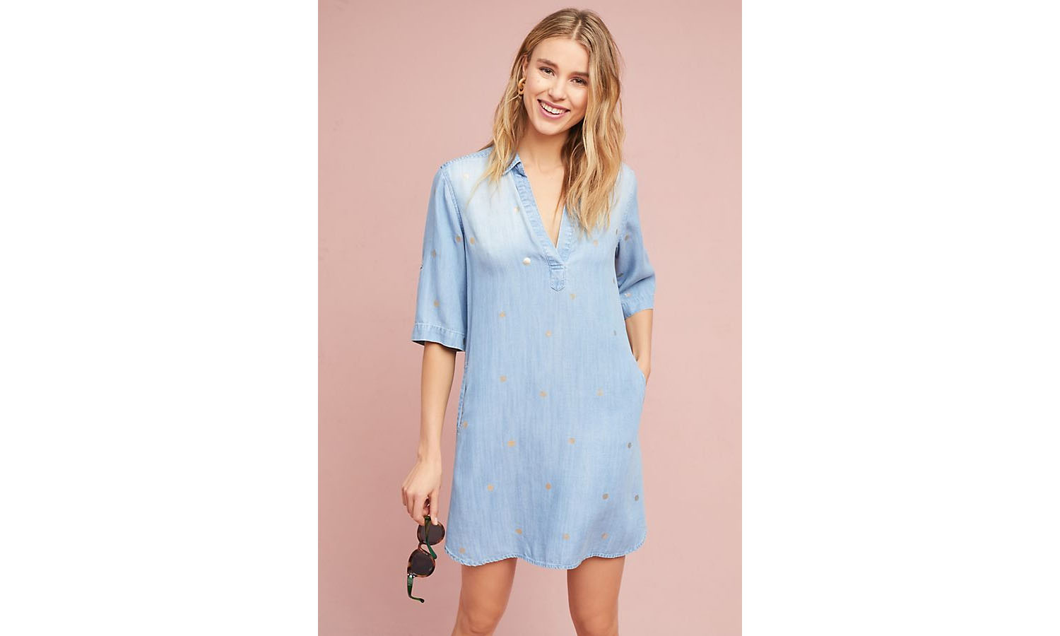 Anthropologie Gold-Dotted Chambray Dress