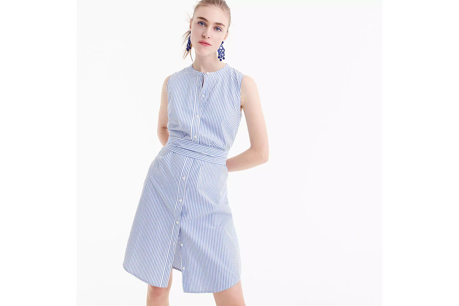The Sleeveless Poplin Shirt Dress