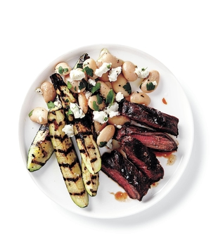 Steak and Zucchini With Greek Beans