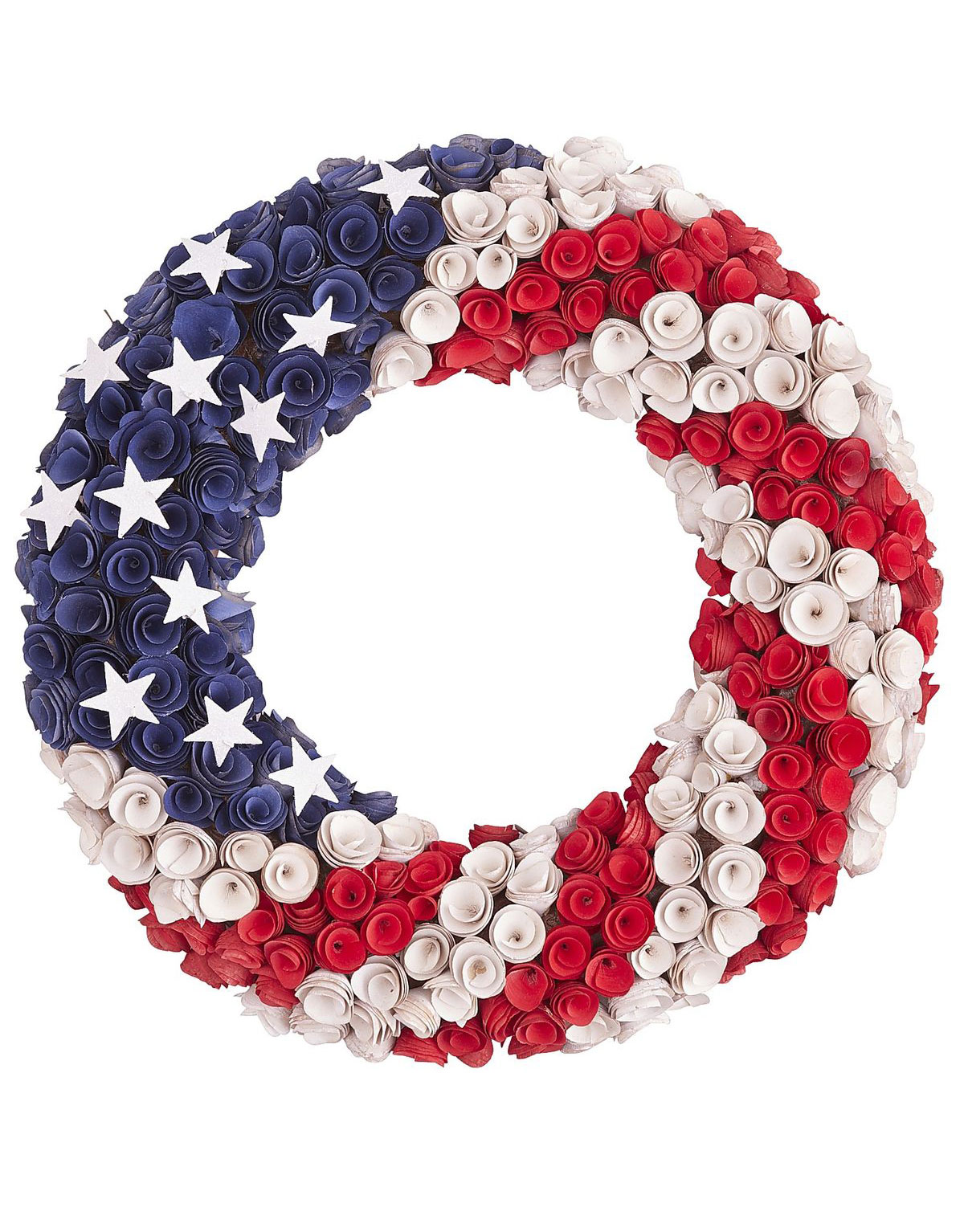 <p>Patriotic Wood Curl Wreath</p>