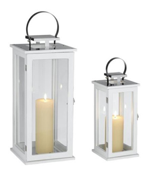 Rachael Set of 2 Tall White Lantern Candleholders