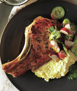 Pork Chops and Cotija Corn Puree With Radish, Cucumber, and Lime Salad