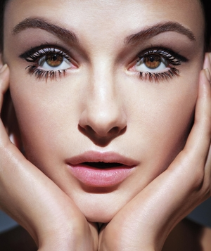 Model with false eyelashes