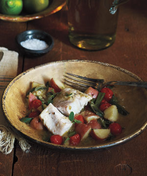 Chili-Braised Fish With Tomatoes and Potatoes