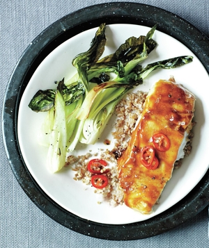Hoisin-Glazed Halibut With Bok Choy and Bulgur