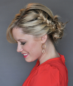 How to do the side french braid updo real simple finished side french braid updo by kate bryan ccuart Images