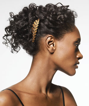 Gold Comb In Curly Hair Up Do