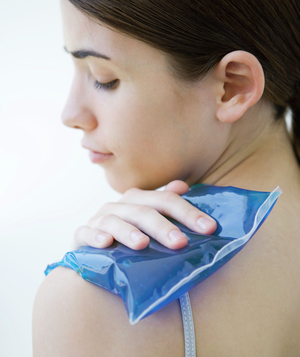 Woman with ice pack