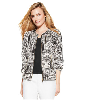 Calvin Klein Long-Sleeve Printed Soft Bomber Jacket