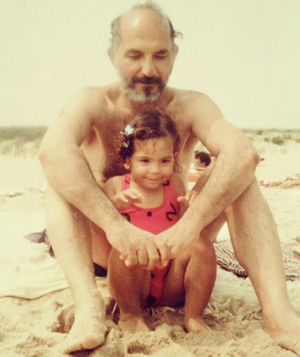 Jessica Soffer with her dad at the beach