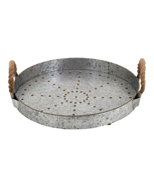 Woodland Imports Galvanized Rope Tray