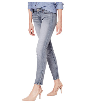 Curvy Skinny Ankle Zip Jeans in Garden Blue Wash
