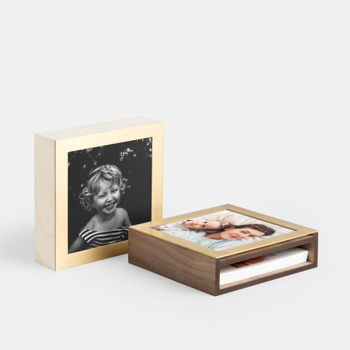Brass and Wood Display Photo Box