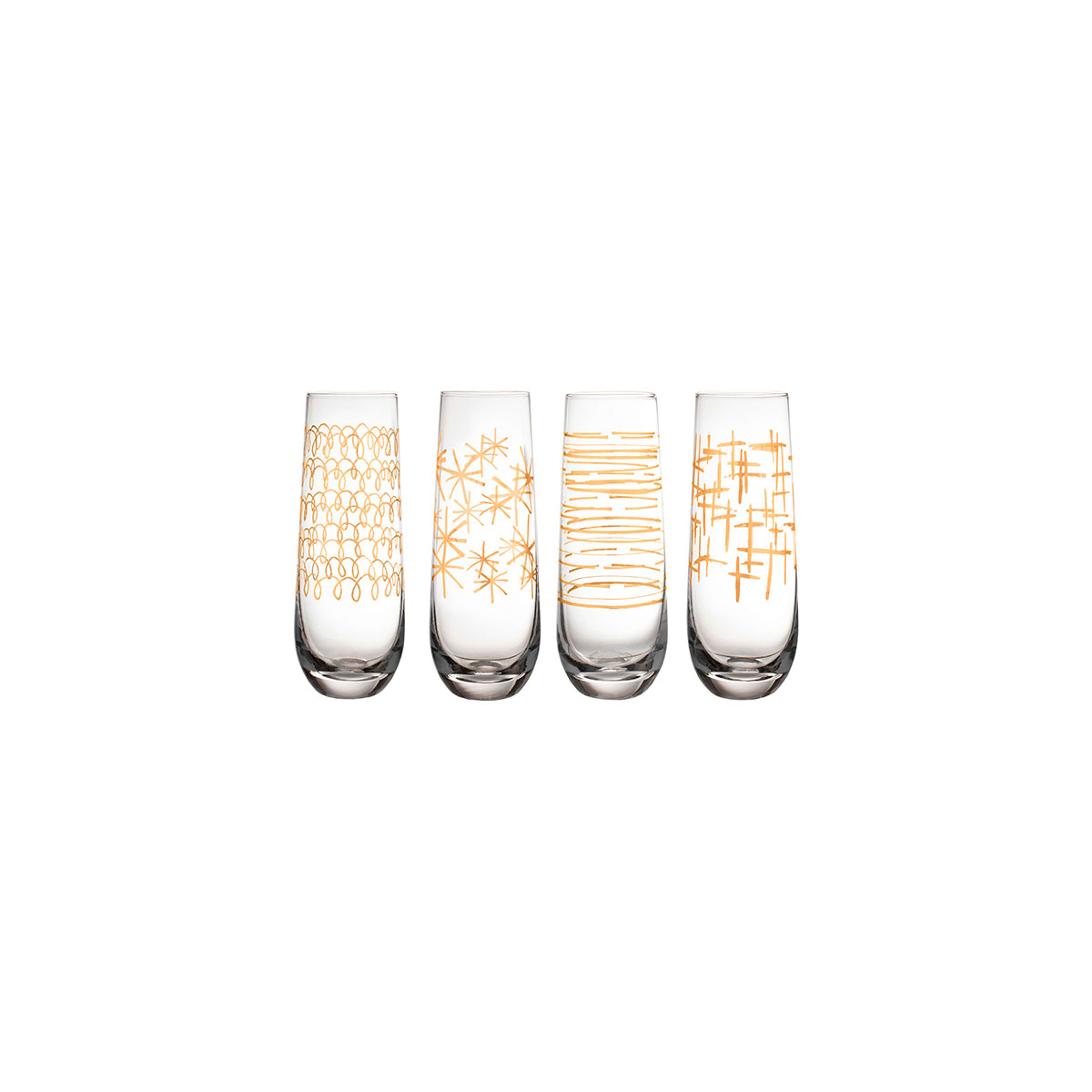 Soiree Set of 4 Stemless Champagne Flutes