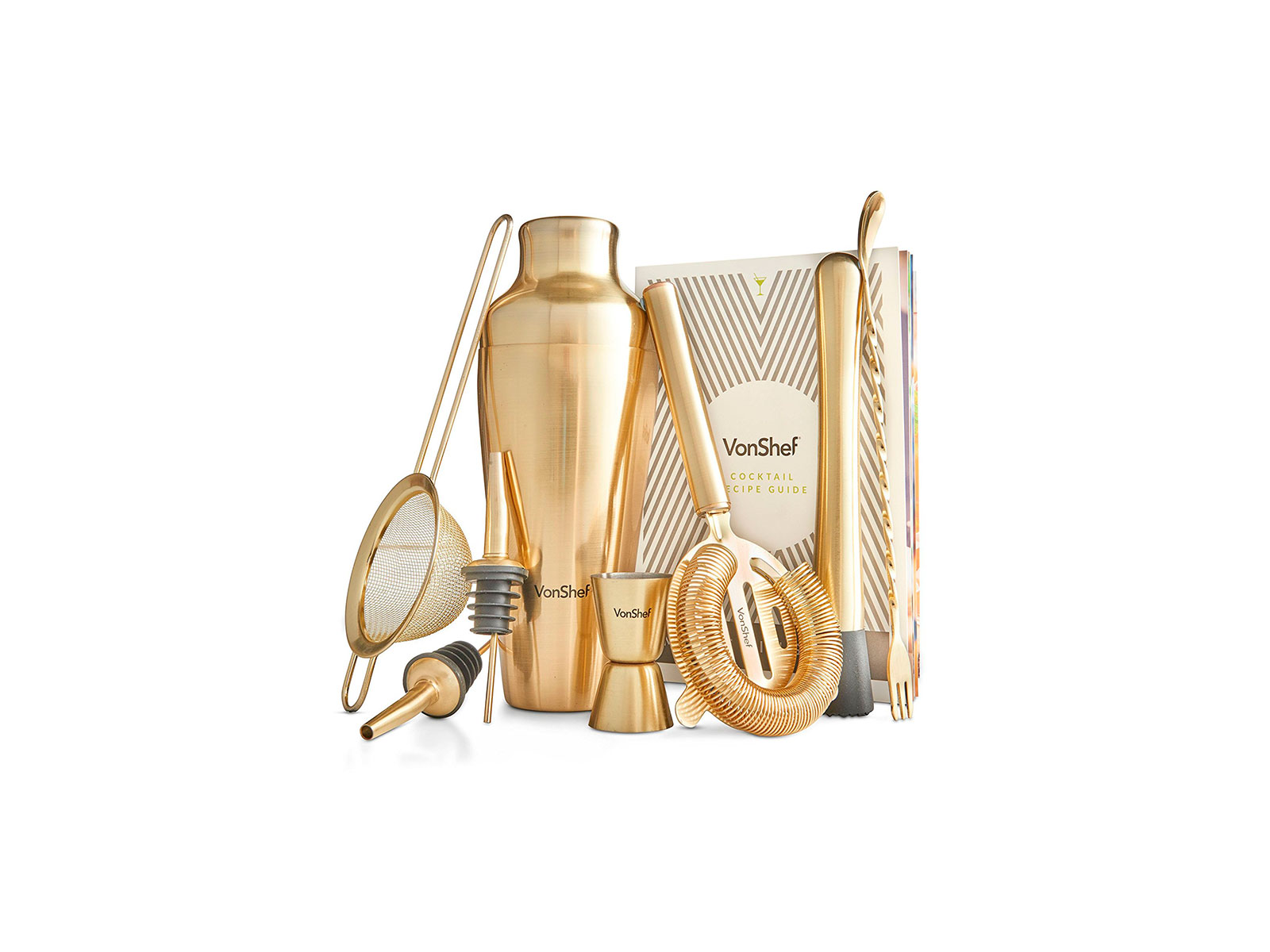 gold barware set and cocktail shaker