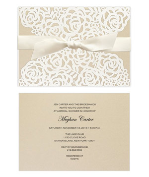 Victorian Lace Laser Cut Wrap Invitation