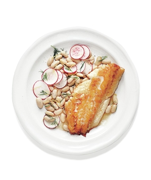 Seared Bass With Bean and Radish Salad, Brown Butter, and Dill