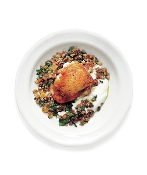 Pan-Roasted Chicken Thighs With Bulgur, Raisins, and Pine Nuts