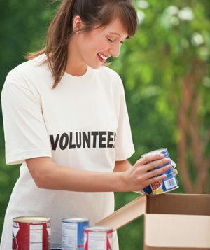Woman volunteering