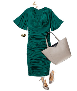 Green ruched dress with accessories and shoes