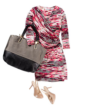 Wrap dress with bag and shoes
