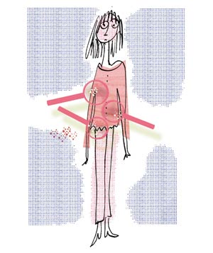 Illo: woman with wardrobe malfunctions