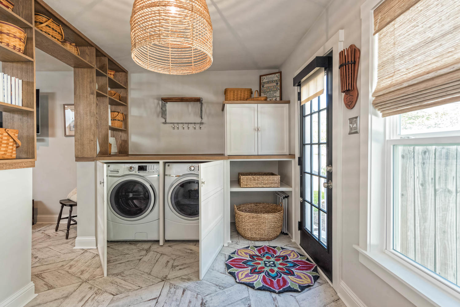 Fixer Upper Laundry Room with cabinets