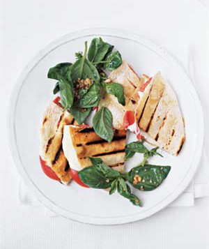 Tomato and Mozzarella Quesadillas With Basil